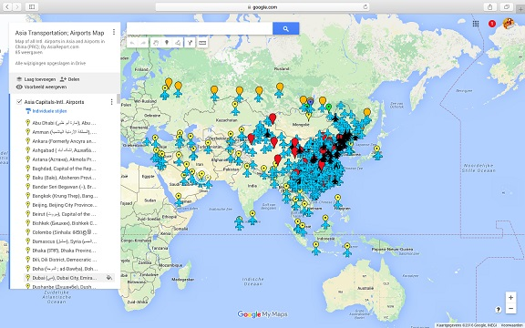 Full Map of Transportation options in Asia, China and Mongolia. - Intl. Airports, Airports,Train Stations.