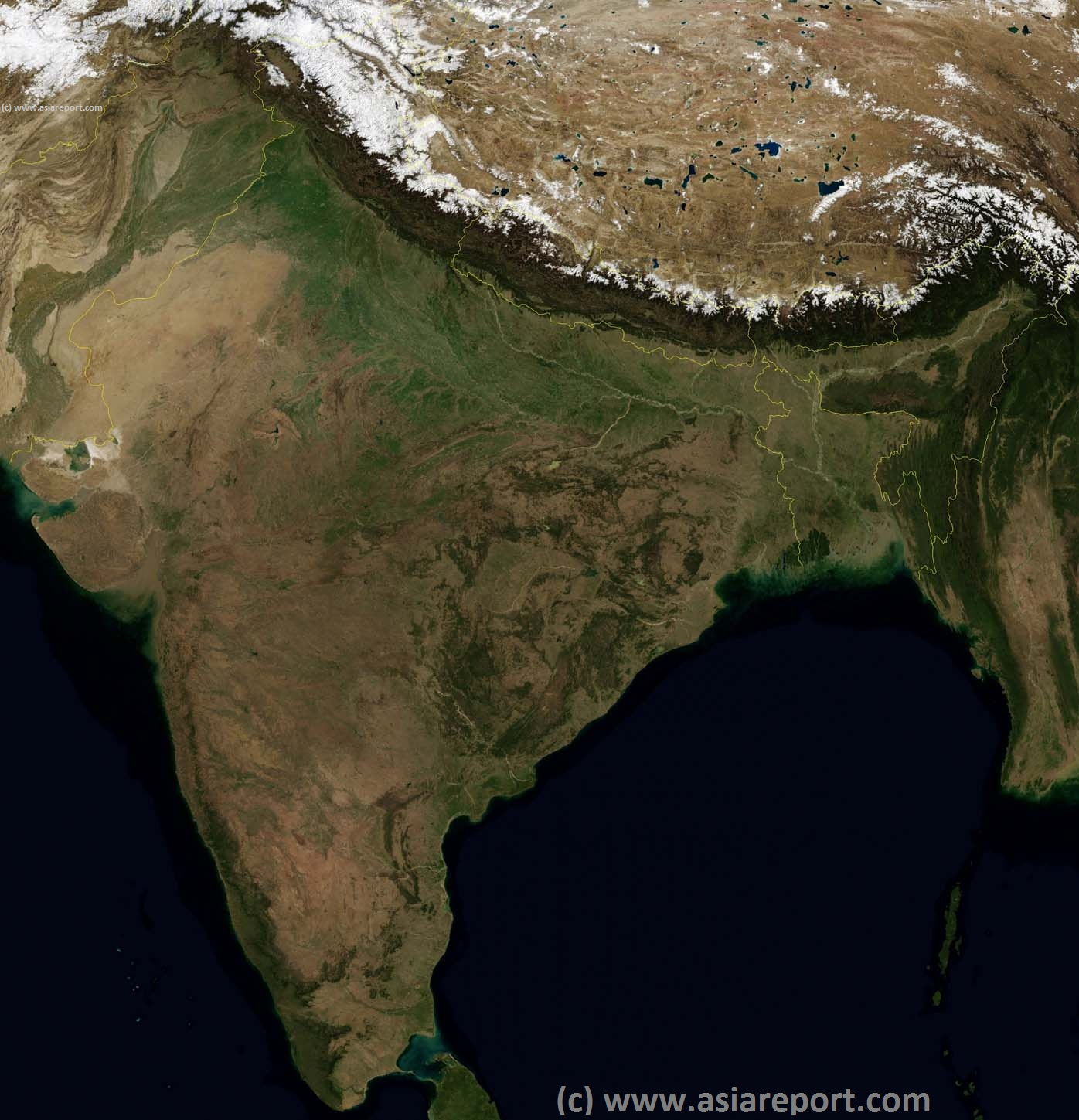 Map Satellite India Pakistan Nepal Bhutan Tibet Ar Bangladesh 01a