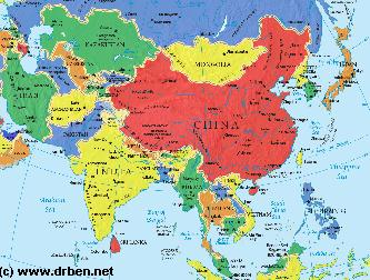 Asia report map of asia political china and bordering nations of