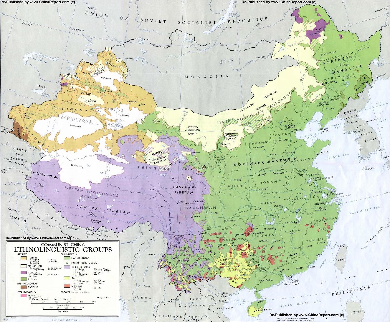EthnoLinguistic Map of China 1967 AD Distribution of Languages