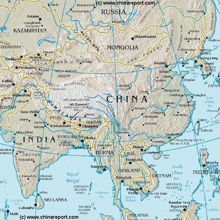 Rivers Map Of China.Map China Overview Map China Bordering Nations Of Central Asia