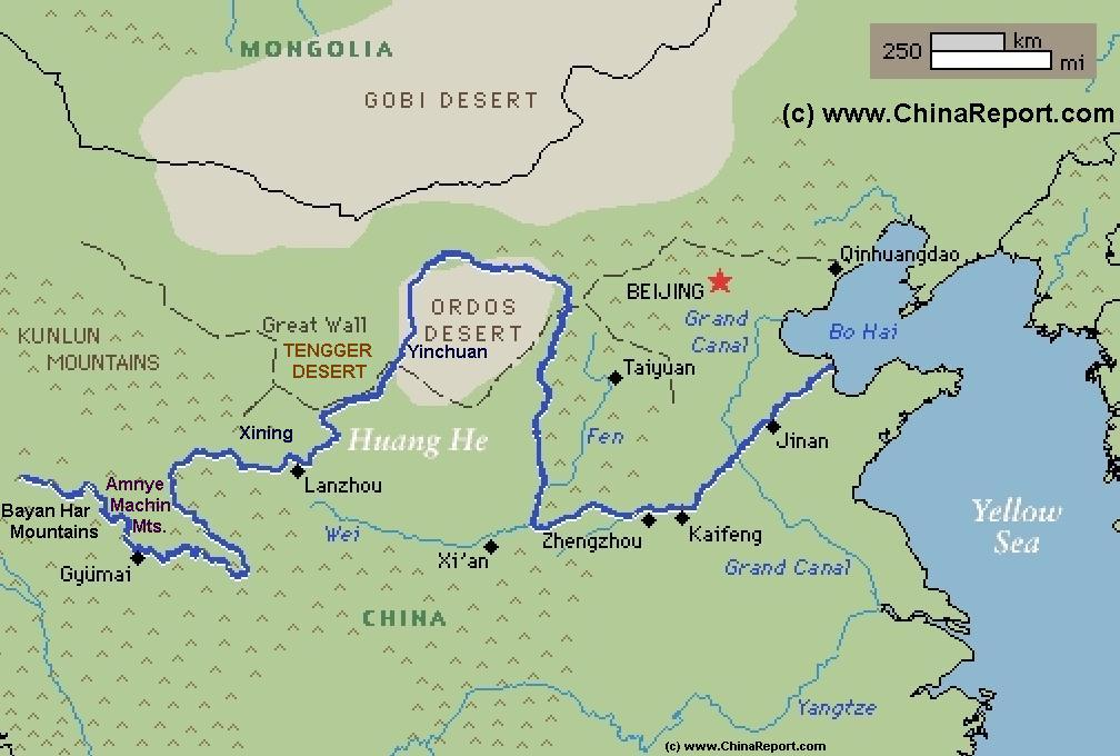 Map Of China Yellow River.Schematic Map Of The Yellow River Huang He Flow Path 01a