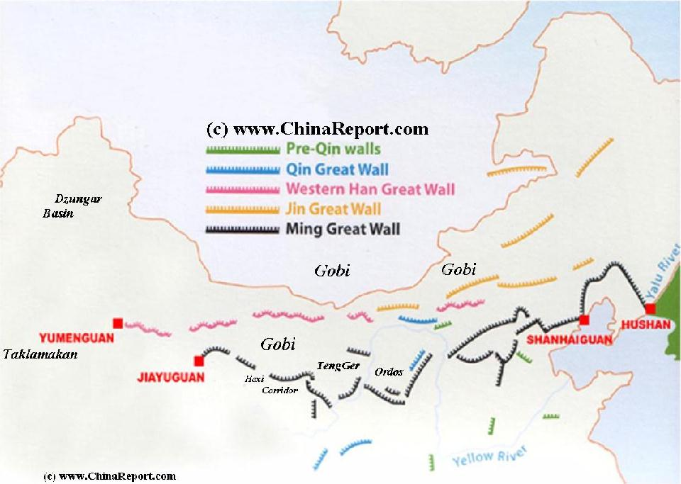 Great Wall of China - Schematic Map of Layers of Dynasties & Eras ...