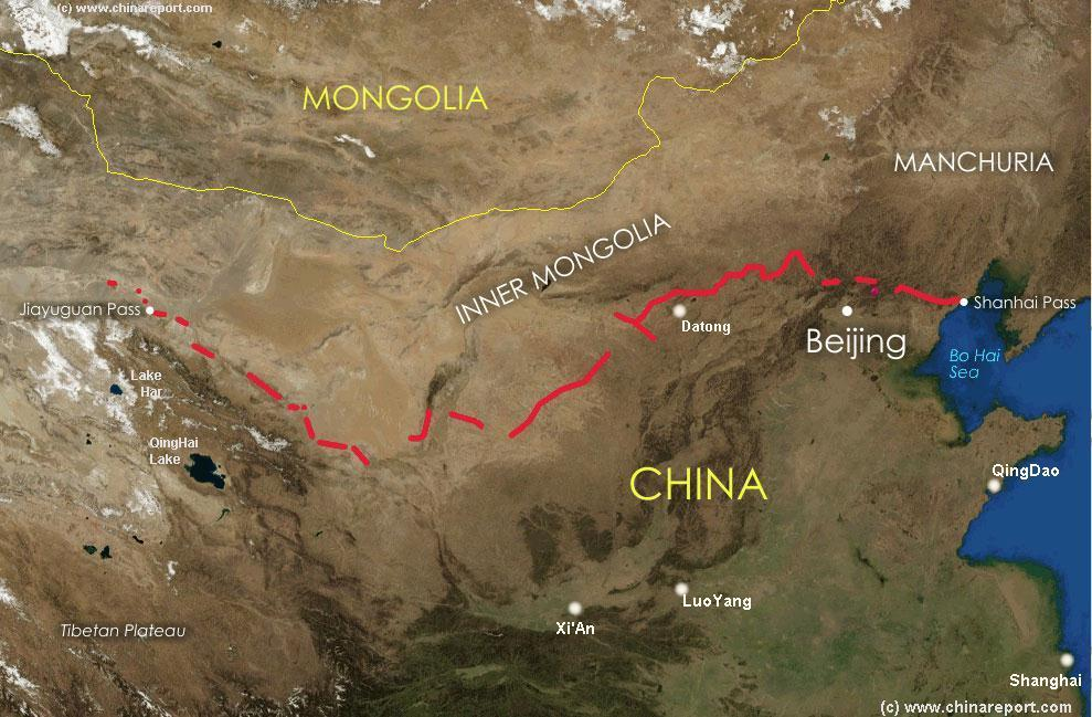 Great Wall Of China Map View.Satellite Map Of China And East Asia With Great Wall Of Ming Dynasty