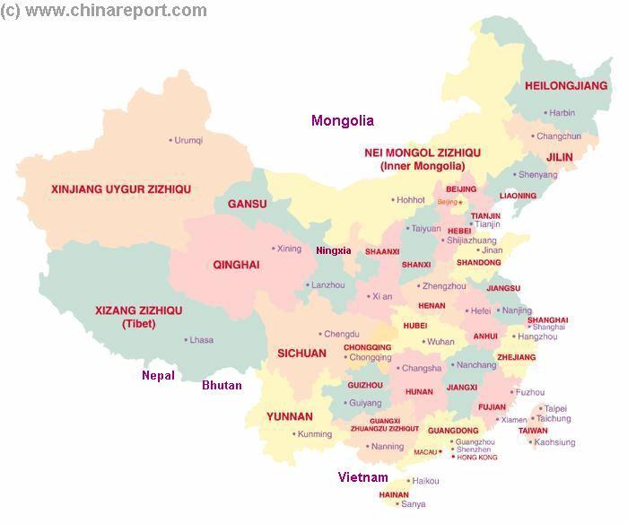 Quick Reference Map Of China 22 Provinces 5 Autonomous Regions