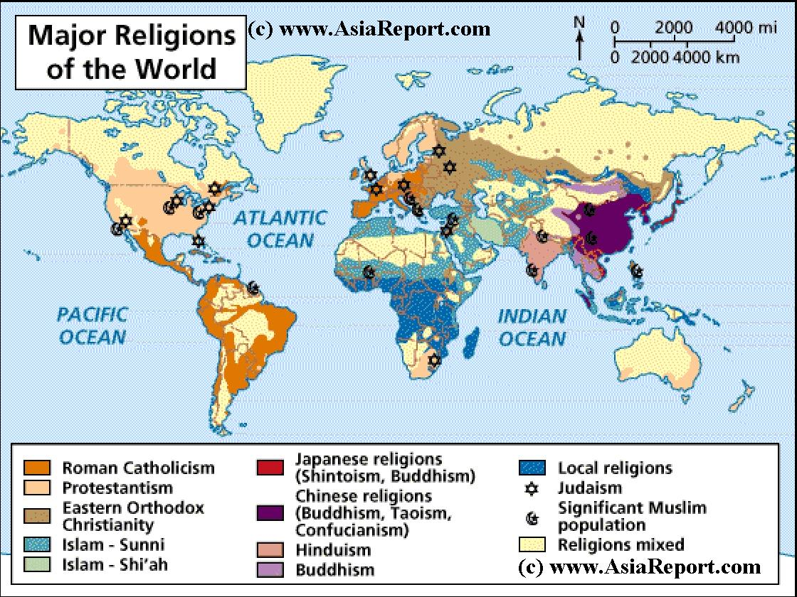 Map ot Distribution ot Religions Faiths of the World 1A by