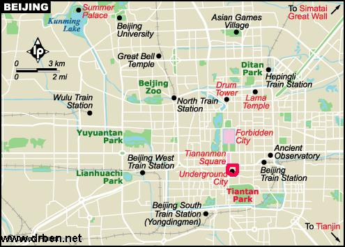 Click Map to see entire Downtown Beijing in Detail