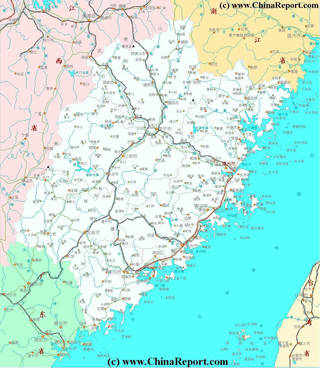 Fujian Province, China - Fujian Map 2A Schematic, by ChinaReport.com