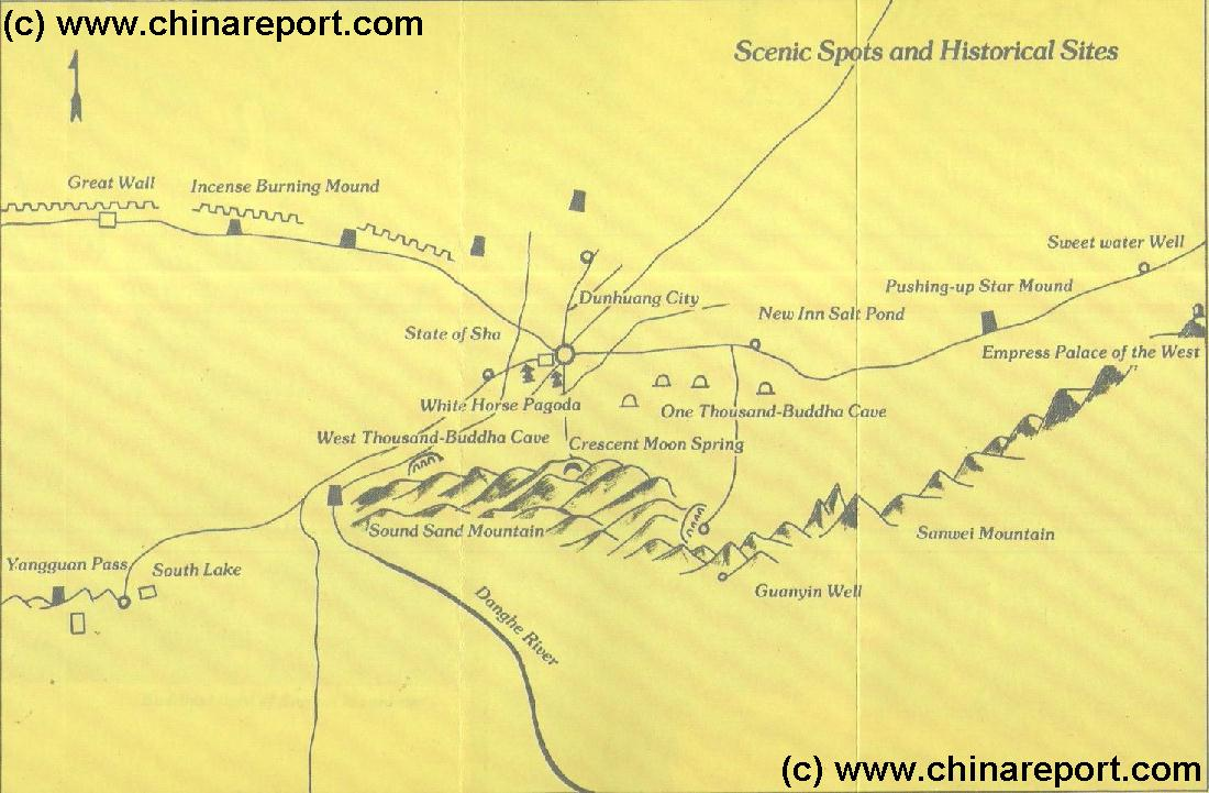 Gansu province dunhuang dunhuang maps dunhuang area overview map 1 marks location of special interest cultural historic site gumiabroncs Gallery