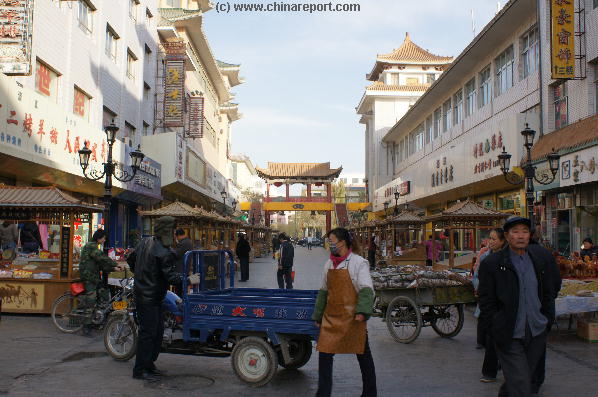 The Shazhou Central Market Street in Center Dunhuang