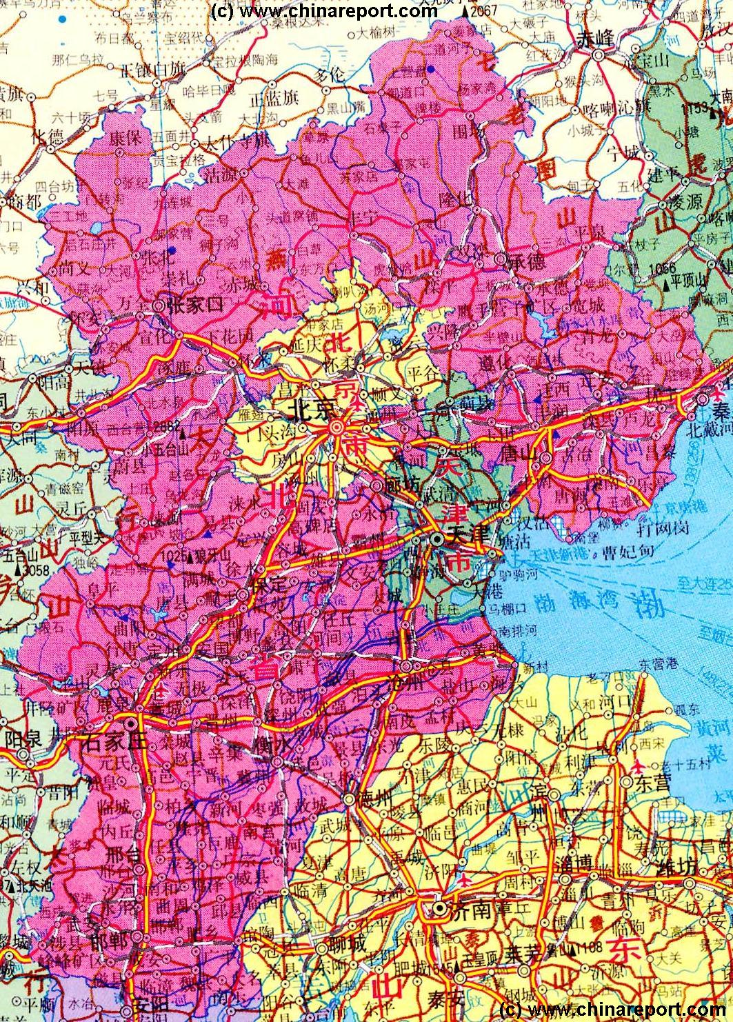 Hebi China  city photos gallery : Hebei Province, China Overview Map 2, by ChinaReport.com