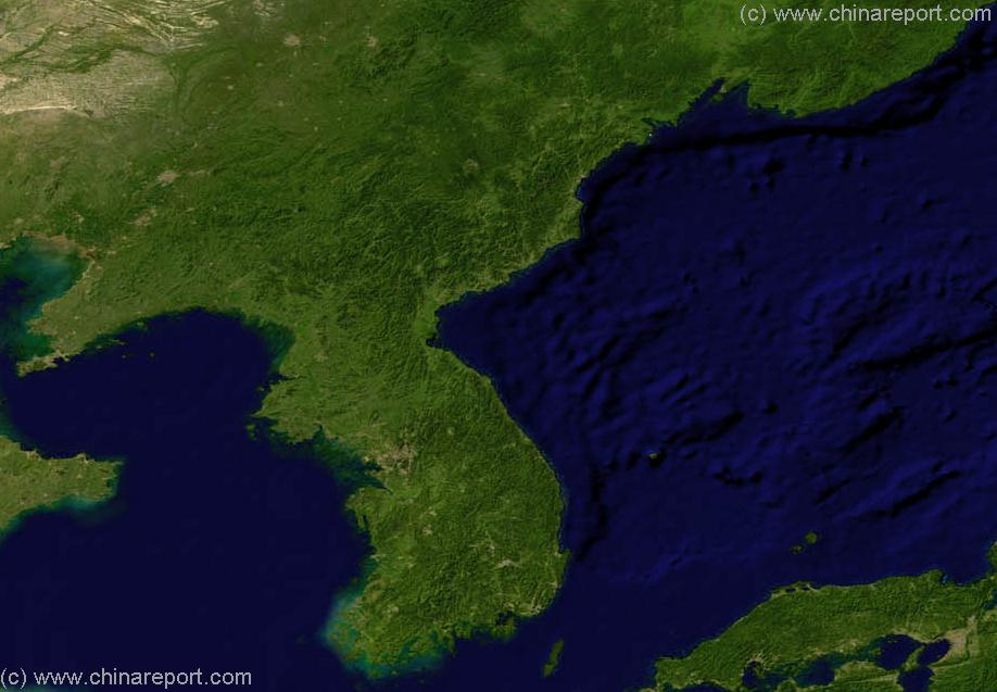 Satellite Map Of Jilin Liaoning And North South Korea A By - Japan map satellite