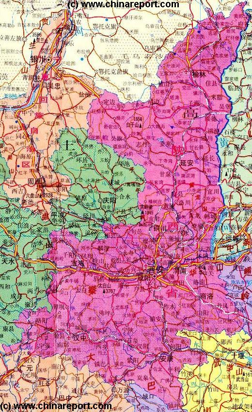 Shaanxi Province Map 1A- Geographic Map of Shaanxi - Click to View