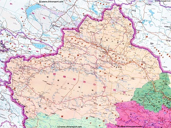 Full Geographic  Map of Xinjiang