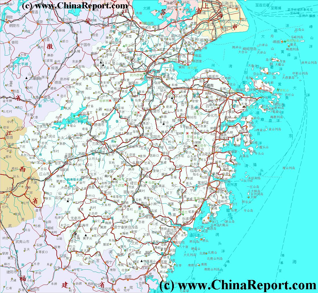 Taizhou (Zhejiang) China  city photos gallery : Zhejiang Province, China Overview Map 2A Schematic, by ChinaReport ...