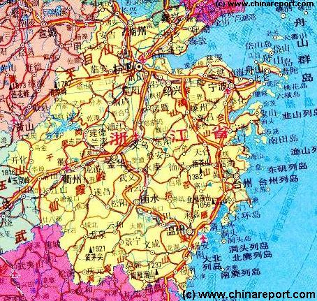 Zhejiang Province China Overview Map 2a Schematic By Chinareport Com