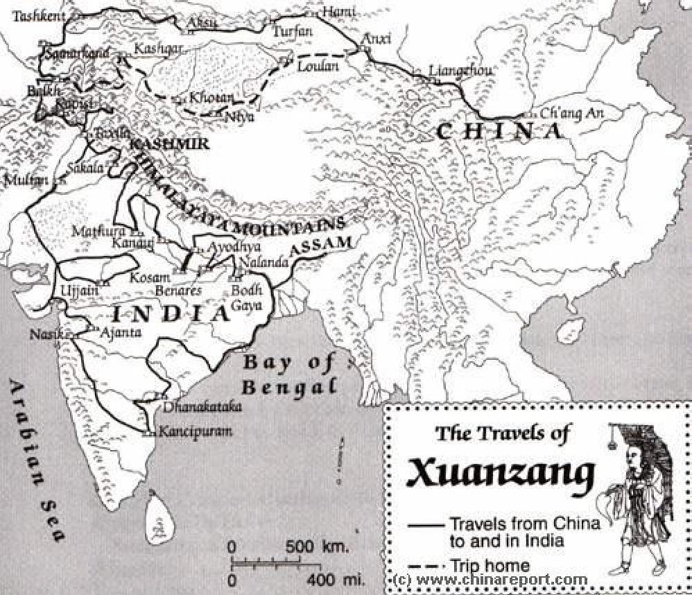 Map of the Travels of Xuanzang 629 AD 645 AD Journey to the – Mapping Travel Route
