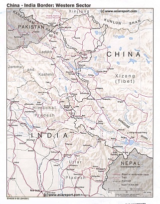 Geographic Relief Map West Section Border Regions India-China (PRC) 1980 - Click thru to Full Version !!