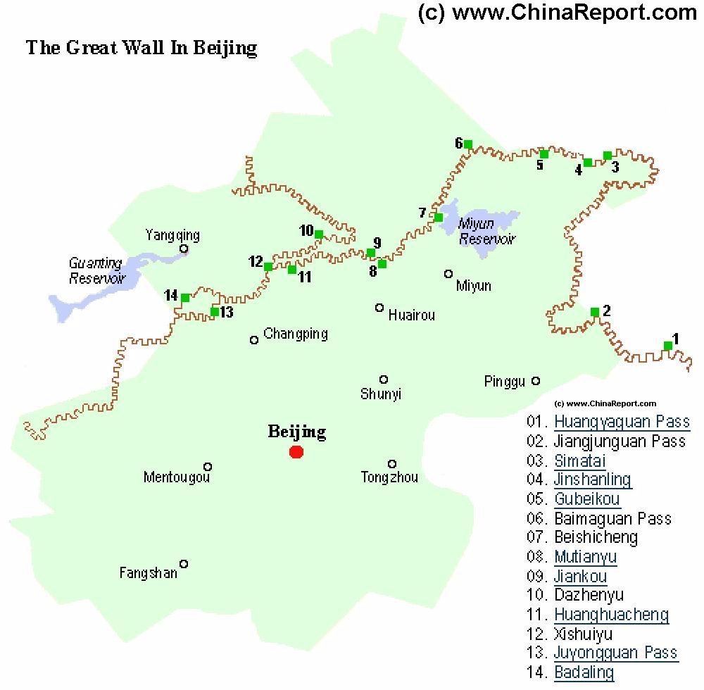 Great Wall of China in Beijing City Province Locations Map by