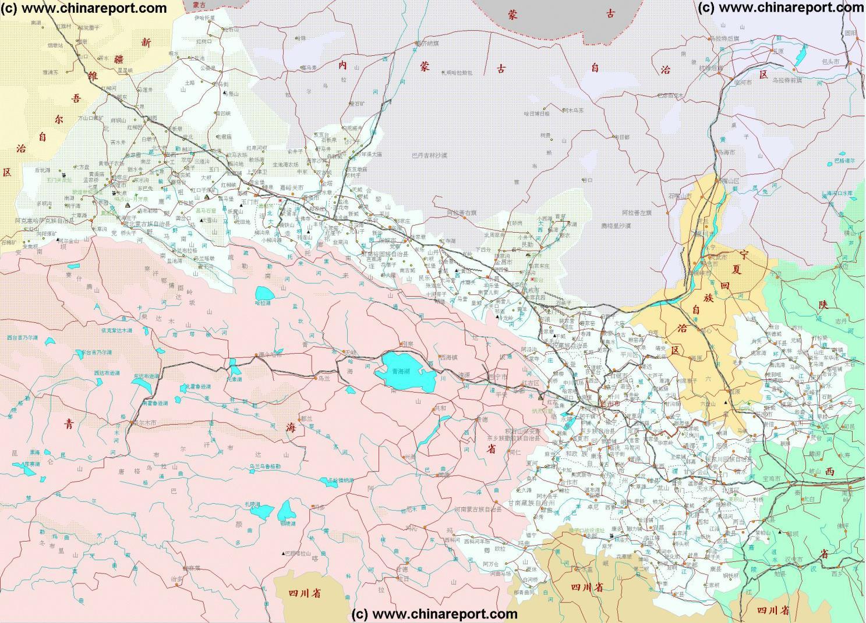 Gansu China Map.Gansu Province China Overview Map 2 By Chinareport Com