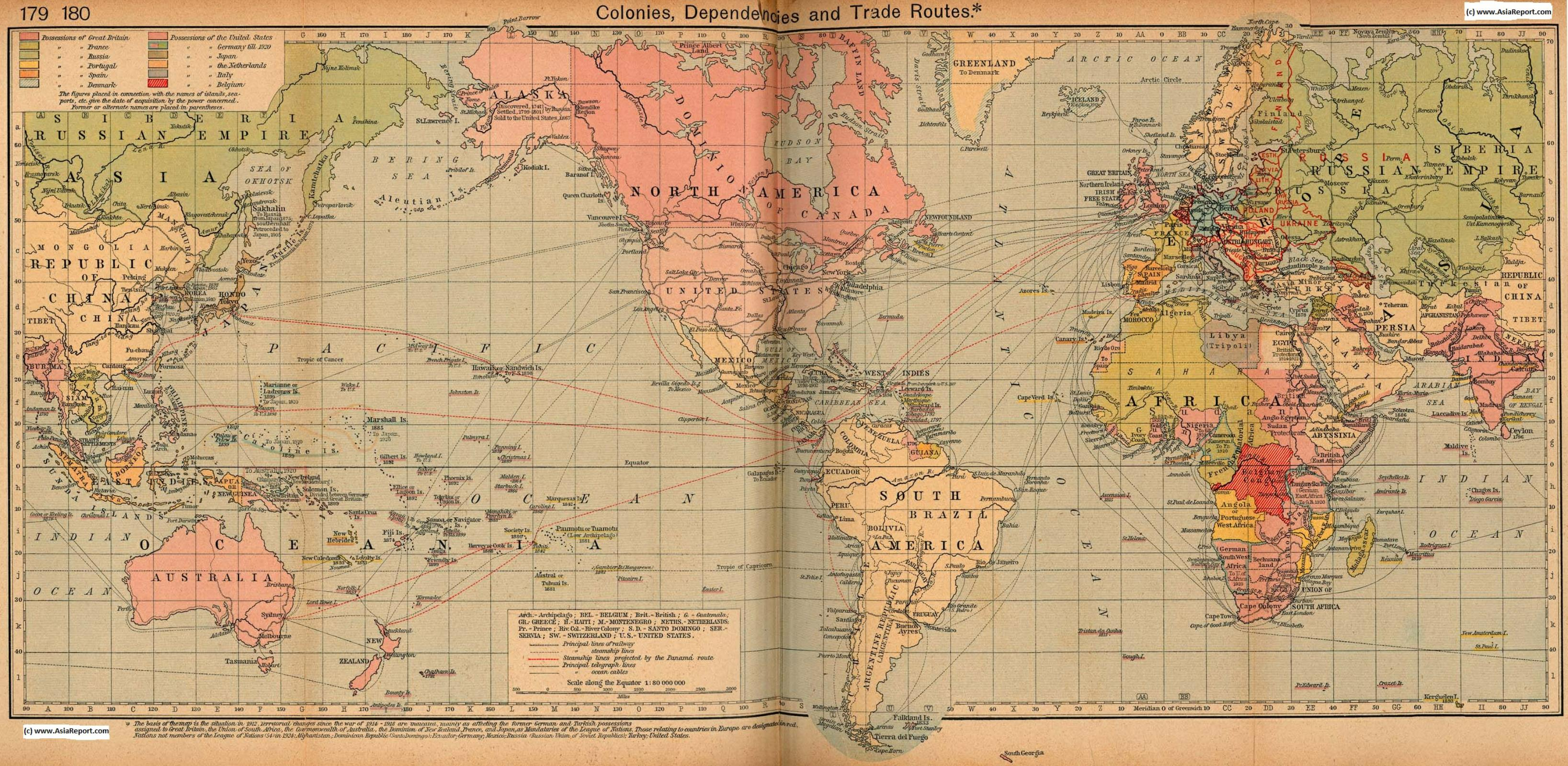 Map Asia   History   Colonialism : World Colonial Possessions 1912