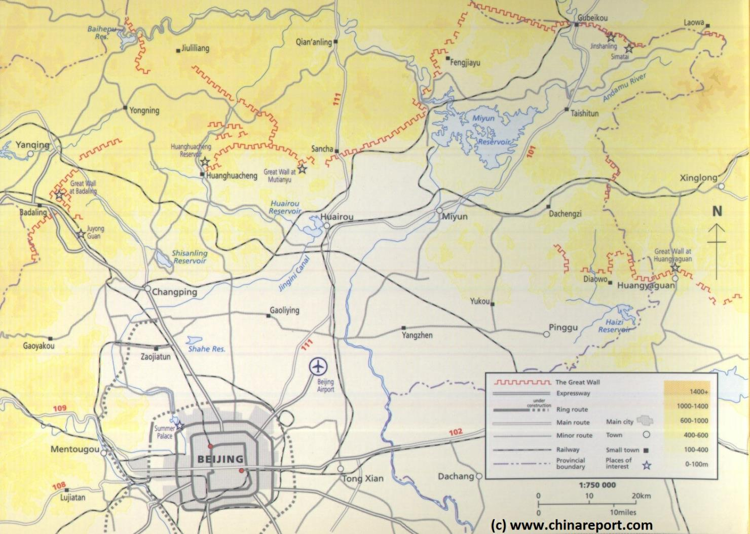 Schematic Map Great Wall of China Locations in Beijing City Province 01