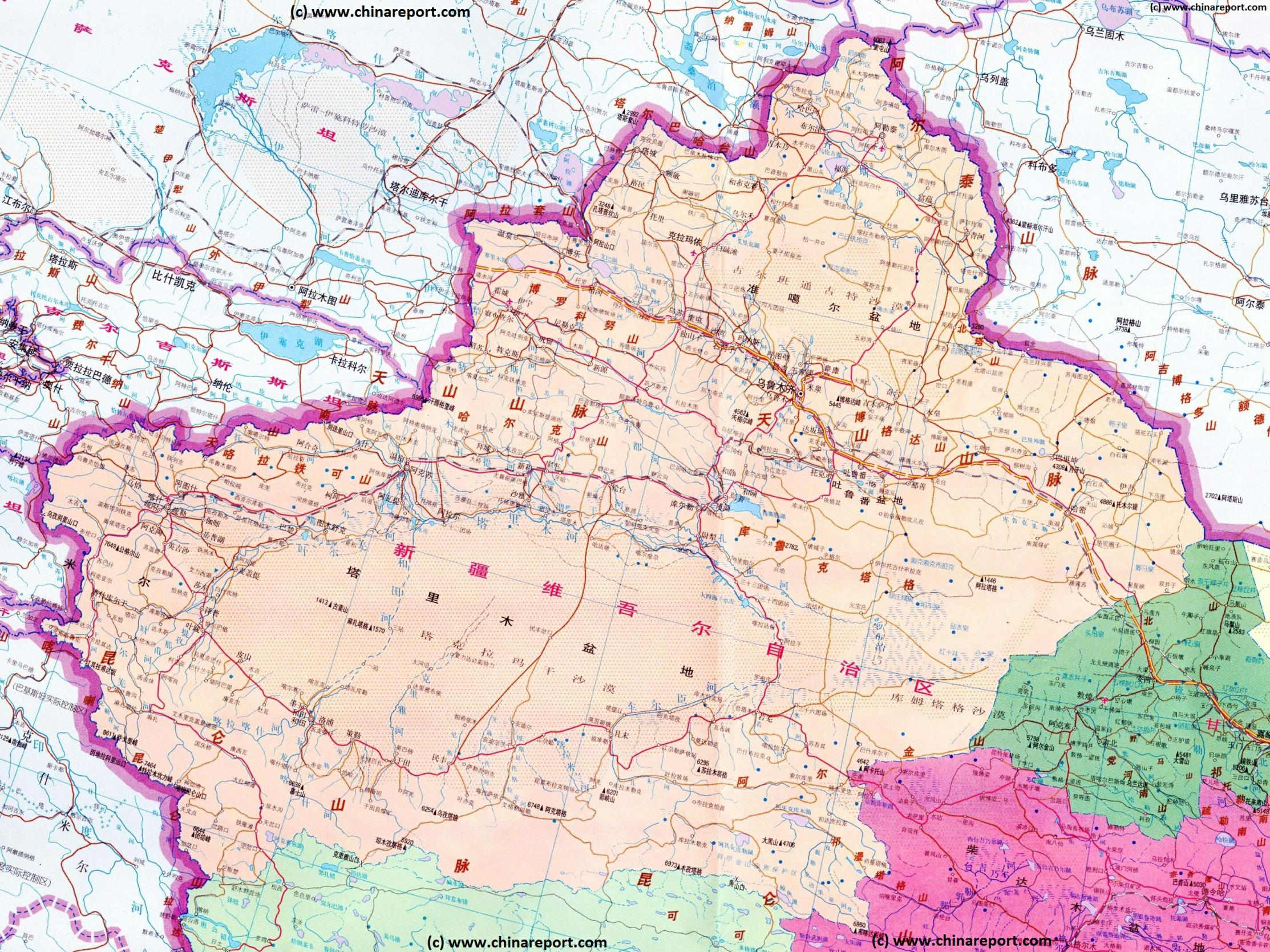 Map Xinjiang.Map West China Xinjiang Uyghur Ar Kasghar Region Karakoram