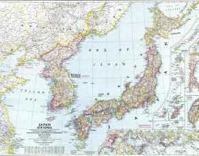 Map of China Coastal Regions, Korea & Japan in 1945.