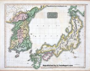Map of Korea and Japan in 1815 AD