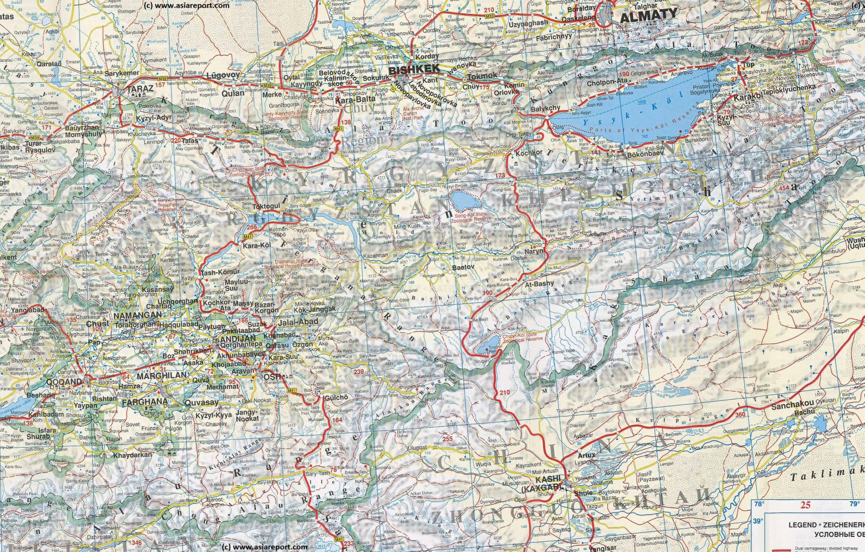 Map Geographic - Central Asia - Kyrgyzstan / Khirgizstan Road Map ...