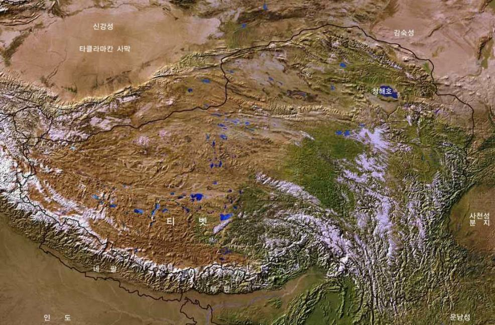 Map Of Tibetan Plateaux Satellite Image Overview 01a By